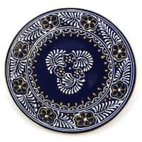 Handmade Encantada Pottery Handmade Round Blue Plate (Mexico)