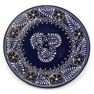 Encantada Pottery Handmade Round Blue Plate (Mexico)