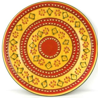 Hand-painted Round Encantada Red Pottery Plate (Mexico)