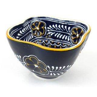 Hand-painted Blue Dip Bowl Encantada Pottery Bowl (Mexico)