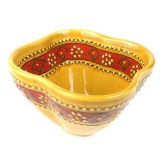 Hand-painted Honey Encantada Pottery Dip Bowl (Mexico)