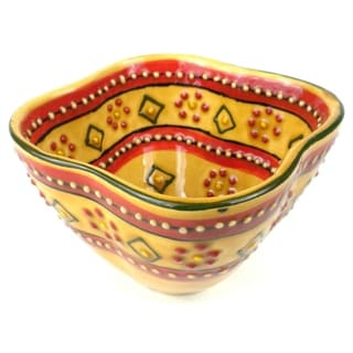 Hand-painted Red Dip Encantada Pottery Bowl (Mexico)