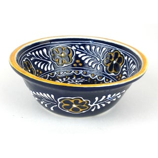 Hand-painted Round Bowl in Blue - Encantada Pottery (Mexico)