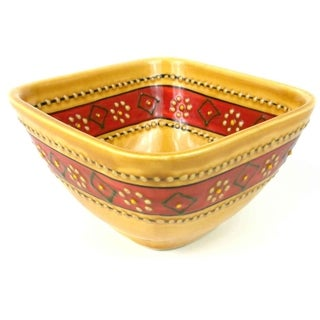 Hand-painted Square Bowl in Honey - Encantada Pottery (Mexico)