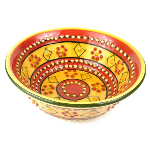 Handmade Small Cereal or Nut Bowl - Red and Yellow (Mexico)
