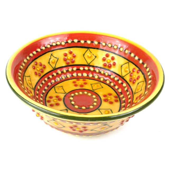 Small Cereal or Nut Bowl - Red and Yellow