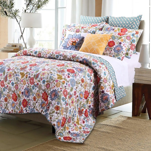 Greenland Home Fashions Astoria White Oversized Cotton 3-piece Quilt Set