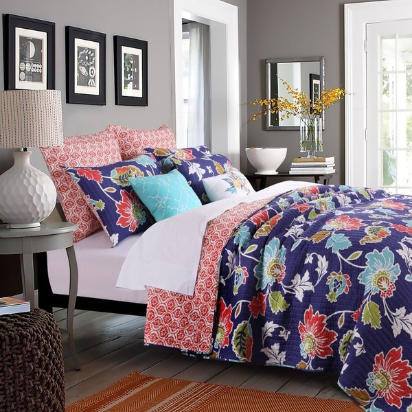 Greenland Home Fashions Phoebe Midnight Oversized Cotton 3-piece Quilt Set