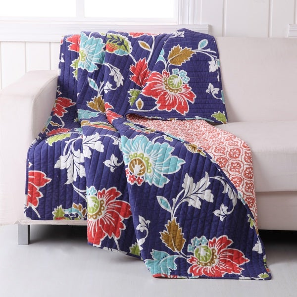 Greenland Home Fashions Phoebe Midnight Quilted Cotton Throw