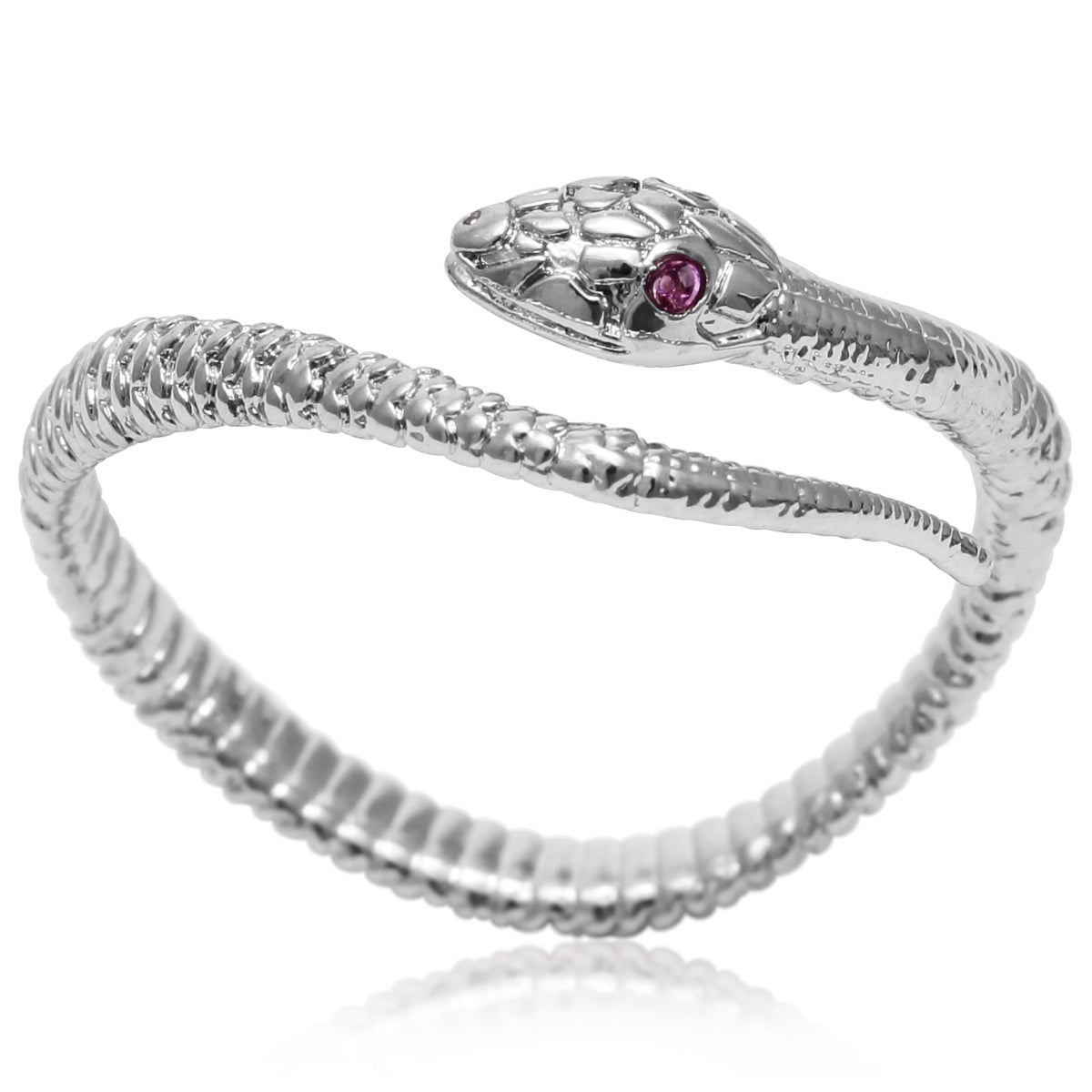 Red Crystal Snake Wrap Ring (Red), Women's, Silver