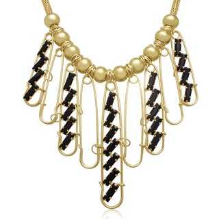 Black Onyx and Gold Pin Bib Necklace