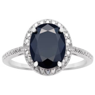 3 1/2 TGW Oval Shape Sapphire and Halo Diamond Ring In Sterling Silver - Blue|https://ak1.ostkcdn.com/images/products/10701769/P17762422.jpg?impolicy=medium
