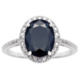 3 1/2 TGW Oval Shape Sapphire and Halo Diamond Ring In Sterling Silver - Blue