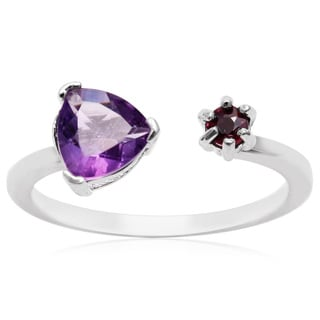 1 Carat Amethyst and Ruby Open Wrap Ring