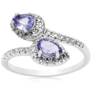 1 Carat Pear Shape Sapphire and Diamond Wrap Ring