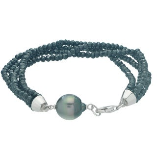 Pearls For You 7.5-inch Sterling Silver Tahitian Pearl & Black Spinel Bracelet (11-12 mm)