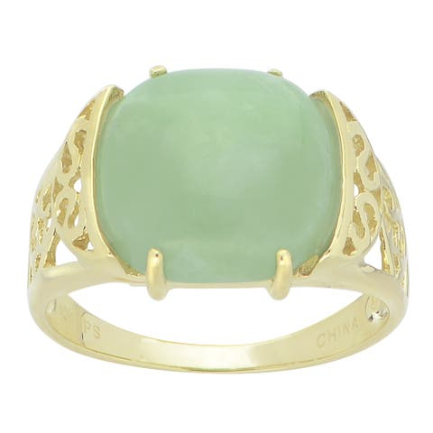 Gems For You 10k Yellow Gold Jade Ring