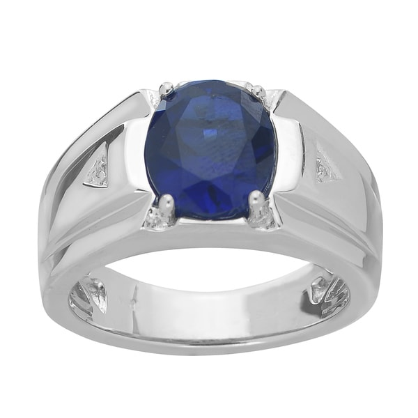 Gems For You Men's Sterling Silver Created Sapphire and Diamond Accent Ring
