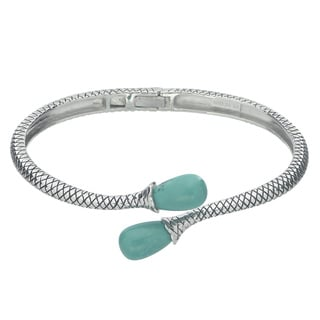 Gems For You Oxidized Sterling Silver Turquoise Hinged Bangle Bracelet