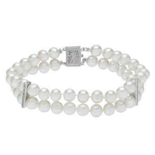 "Pearls For You 7"" 2STR 14KW Freshwater Pearl & Diamond Bracelet (6-6.5 mm) ( H-I, I2-I3)"