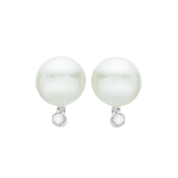 896d2291c Pearls For You 14k White Gold Akoya Pearl & Diamond Accent Stud Earrings  (6.5