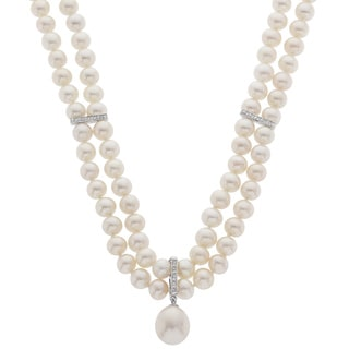 Pearls For You 14k White Gold Two Strand Diamond and Pearl Necklace (6-6.5 mm, 10-11 mm) (H-I, I2)
