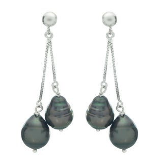 Pearls For You 14k White Gold Tahitian Pearl Dangle Earrings (9-10 mm)