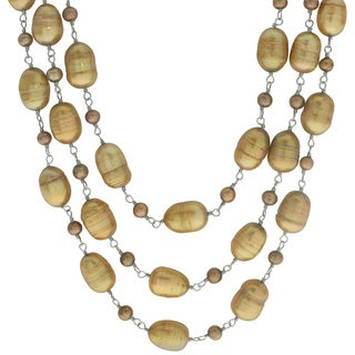 Pearls For You Sterling Silver 18.5-inch Triple Strand Dyed Golden Bronze Freshwater Pearl Necklace (9-9.5 mm, 4-4.5 mm)
