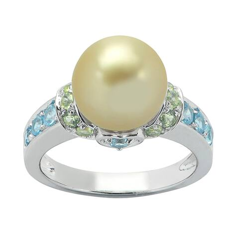 Pearls For You Sterling Silver Golden South Sea Pearl with Blue Topaz and Peridot Ring