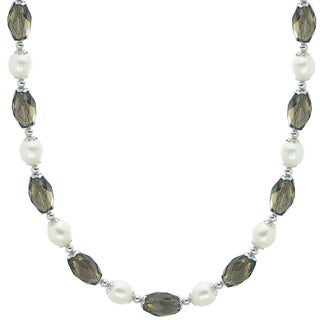 Pearls For You 17.25-inch White Fresh Water Pearl and Smokey Quartz Necklace