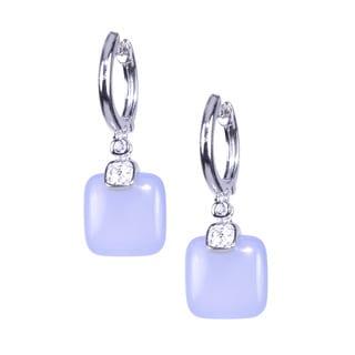 Sterling Silver Cushion Blue Chalcedony White Topaz Hoop Earrings