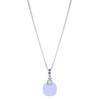 Sterling Silver Cushion Blue Chalcedony with White Topaz Pendant Necklace