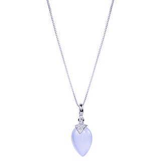 Sterling Silver Pear Chalcedony White Topaz 18-inch Pendant Necklace