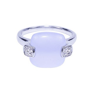 Sterling Silver Cushion Blue Chalcedony White Topaz Ring