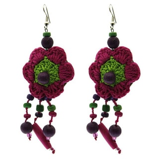 Flower Retro Earrings Crocheted Dangle Earrings, with Wood, and Lucite Beads