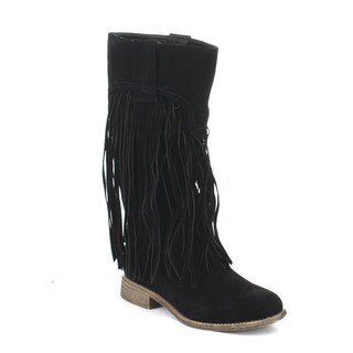 Beston DA12 Women's Moccasin Low Heel Fringe Side Zipper Mid-calf Boots