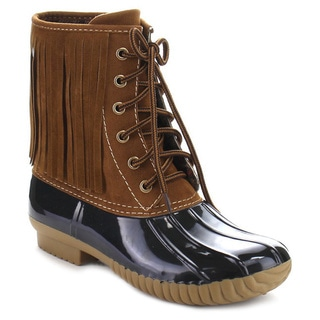 Beston DA41 Women's Two Tone Lace Up Fringe Combat Style Ankle Rain Duck Boots