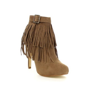 FOREVER FEW12 Women's Stylish Two Layers Fringe Trim Stiletto Heel Ankle Booties