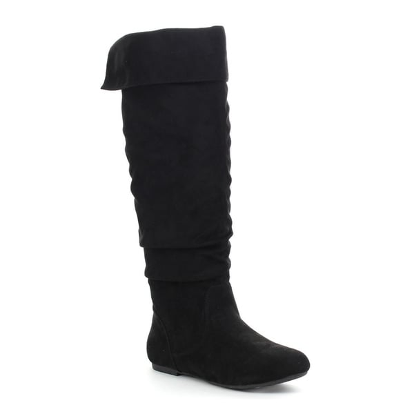 Da Viccino TOP-01 Women's Slouch Side Zipper Flat Fold-cuff Knee0high Boots