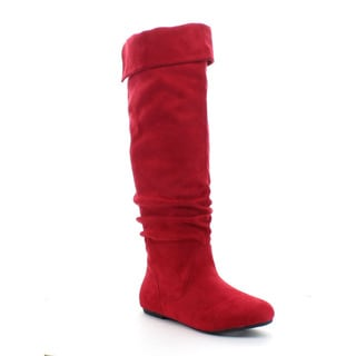 DA VICCINO TOP-01 Women's Slouch Side Zipper Flat Fold-cuff Knee High Boots