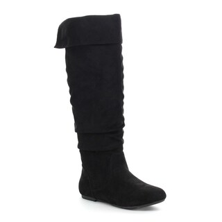 DA VICCINO TOP-01 Women's Slouch Side Zipper Flat Fold-cuff Knee High Boots