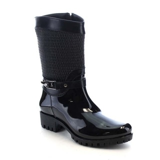 Beston AA69 Women's Glossy Funky Side Zipper Waterproof Mid-Calf Rain Boots
