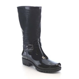 Beston AA70 Women's Crocodile pattern Side Zipper Waterproof Mid-Calf Rain Boots