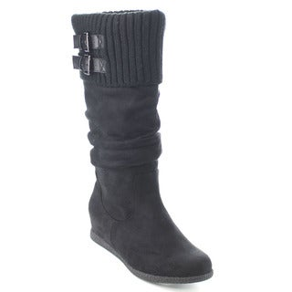 Wild Diva DELTA-04 Women Knit Slouchy Buckle Strap Hidden Wedge Knee High Boots