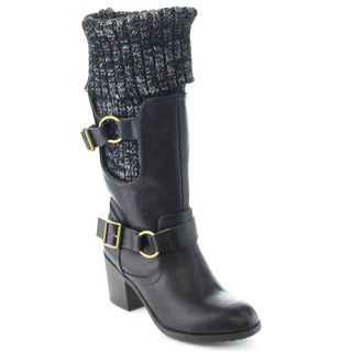 Wild Diva JESS-25 Women Foldable Sweater Cuff Buckle Strap Stacked Chunky Boots