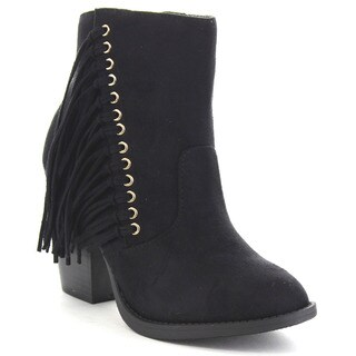 SODA DIMPLE Women's Comfort Chunky Heel Zipped Up Fringe Ankle Bootie