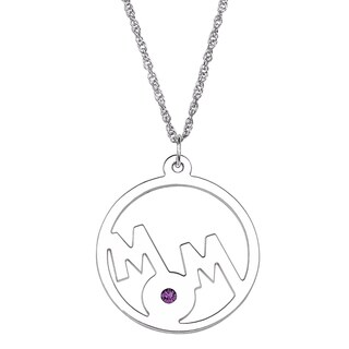 Sterling Silver 'Mom' Birthstone Crystal Circle Pendant