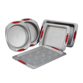 Cake Boss Deluxe Nonstick Bakeware 5-Piece Bakeware Set, Gray with Red Silicone Grips|https://ak1.ostkcdn.com/images/products/10701920/P17762548.jpg?_ostk_perf_=percv&impolicy=medium