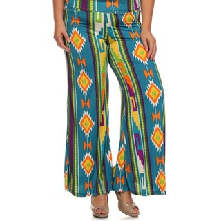 MOA Collection Women's Plus Size Palazzo Pants with Aztec Print