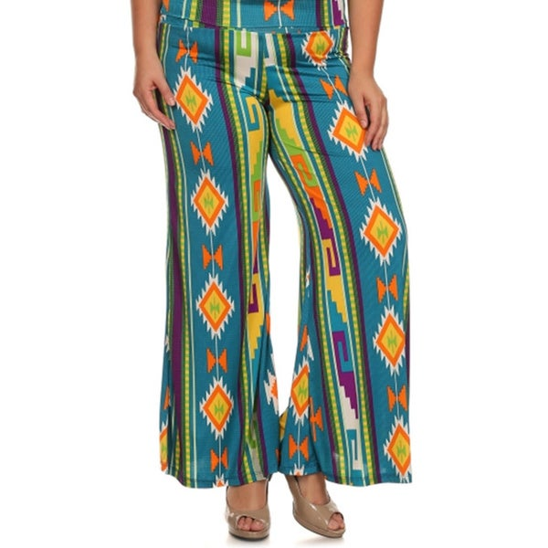 043317aaaf5 Shop MOA Collection Women s Plus Size Palazzo Pants with Aztec Print ...
